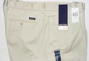 CASUAL SLACKS NAUTICA 2-PLEAT CUFF PANT D01157 111 STONE 50 32 #085645