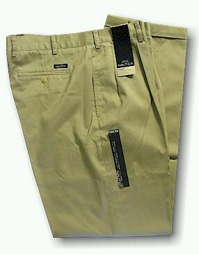 CASUAL SLACKS NAUTICA 2-PLEAT CUFF PANT D01157 256X TAN 58 32 #041319