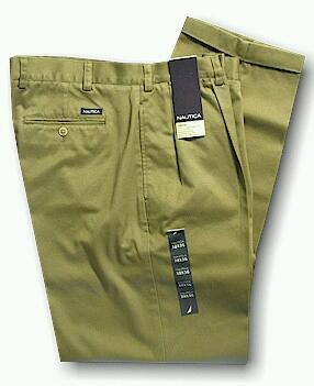 CASUAL SLACKS NAUTICA 2-PLEAT CUFF PANT D01157 273 SURPLUS 44 34 #061076