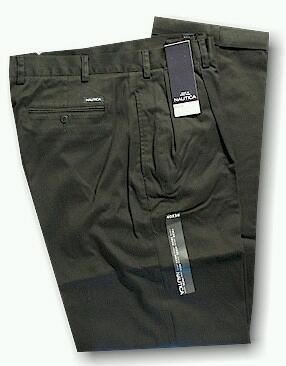 CASUAL SLACKS NAUTICA 2 PLEAT CUFF PANT D01157 010 BLACK 48 30 #221621