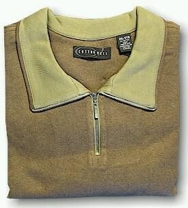 LS KNIT CREW COTTON REEL MARLED ZIP TOP 1111 CHOCOLAT 4XL BIG #050498