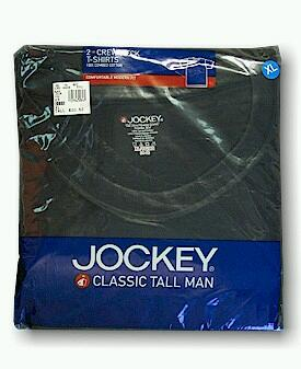 UNDERWEAR JOCKEY TALL MAN CREW 9872-0001 BLACK 2XL TALL #203302