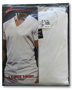 UNDERWEAR FALCON BAY V-NECK TEE FB6002-1 WHITE XL BIG #118813