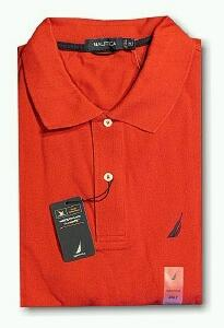 SPORTSHIRT SS KNIT NAUTICA STAIN RESIST SOLID Z30036-638 RED L TALL #266088