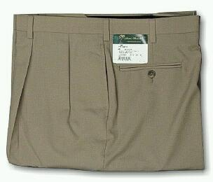 DRESS SLACKS PALM BEACH TROUSER PLEATED WORLD CLASS 2621-B4F-44Y TAN 64 REG #328270