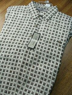 SPORTSHIRT SS BAND BOTTOM PALMLAND RAYON PRINT BB 1500-200 TAUPE L TALL #152453