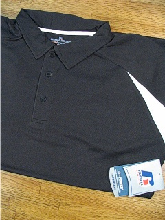 ATHLETIC WEAR RUSSELL 2-TONE DRI-POWER POLO RDPP175 BLACK 5XL BIG #193412