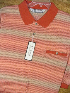 SPORTSHIRT SS BAND BOTTOM PALMLAND JACQUARD HORIZ BB 6091-623 RUST XL TALL #046778