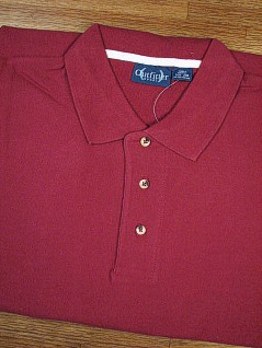 SPORTSHIRT SS KNIT OUTFITTER PIQUE POLO NON-POCKET 103-A27 WINE L TALL #082350