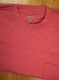 POCKET TEES OUTFITTER HEATHER POCKET TEE 121SH-124 RUBY 2XL BIG #255594