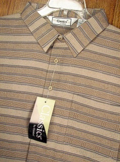 SPORTSHIRT SS BAND BOTTOM PALMLAND HORIZONTAL STRIPE BB 6010-501 TAUPE XL TALL #109372