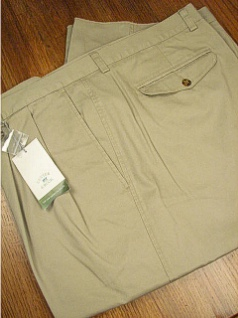 CASUAL SLACKS CUTTER BUCK CLASSIC TWILL PLEAT BCB06148-L KHAKI 46 LONG #350413