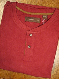 LS KNIT CREW WOOD LAND TRAIL MOLESKIN HENLEY 2800-155W CHERRY XL TALL #065397