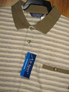 SPORTSHIRT SS BAND BOTTOM LD SPORT JACQUARD H STRIPE 6091-800 TAN 3XL BIG #061919