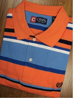 SPORTSHIRT SS KNIT CHAPS W/BLUE HORIZ PIQUE 12909-803 ORANGE XL TALL #358903