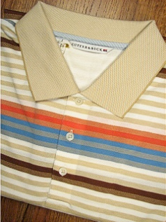 SPORTSHIRT SS KNIT CUTTER BUCK LIGHTHOUSE STRIPE BCK08866-WH WHITE 2XL TALL #016357