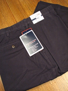 CASUAL SLACKS ROUNDTREE YORK RELAXER PLAIN FRONT Y75PR-PLAIN NAVY 44 28 #150596