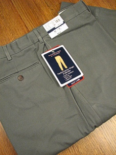 CASUAL SLACKS ROUNDTREE YORK RELAXER PLAIN FRONT Y75PR-PLAIN OLIVE 44 32 #304153