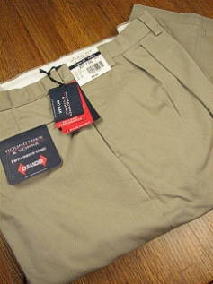 CASUAL SLACKS ROUNDTREE YORK RELAXER TWILL PLEAT Y75PR-PLEAT KHAKI 46 32 #029869