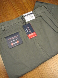 CASUAL SLACKS ROUNDTREE YORK RELAXER TWILL PLEAT Y75PR-PLEAT OLIVE 52 32 #116406