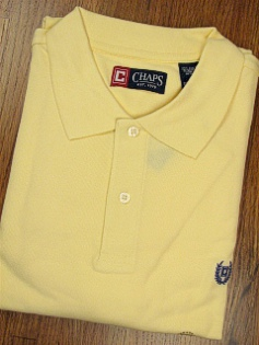 SPORTSHIRT SS KNIT CHAPS SOLID PIQUE POLO 10111-707 YELLOW XL TALL #280844