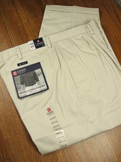 CASUAL SLACKS CHAPS PLEAT STAIN RESIST 93622V-063 STONE 52 32 #126726