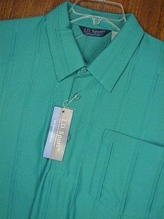 SPORTSHIRT SS BAND BOTTOM LD SPORT VERTICAL TONAL 6010- JADE 2XL TALL #349651