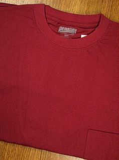 POCKET TEES PENNANT SPORT PREMIUM POCKET TEE 121- WINE 2XL TALL #256311