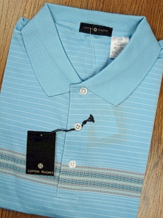 SPORTSHIRT SS KNIT CTTON TRADERS TECH ENGINEER STRIPE 3700-554 BLUE XL TALL #323086