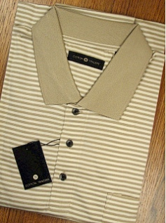 SPORTSHIRT SS KNIT CTTON TRADERS MERCERIZED STRIPE 3500-700 TAUPE 3XL TALL #096984