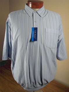 SPORTSHIRT SS BAND BOTTOM LD SPORT JACQUARD VERT TC 6010-603 BLUE 6XL TALL #281465
