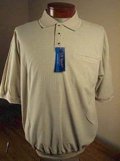 SPORTSHIRT SS BAND BOTTOM LD SPORT JACQUARD BIRDSEYE KC 6091-21 TAUPE 6XL TALL #305554