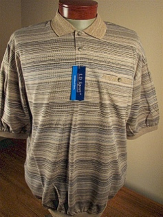 SPORTSHIRT SS BAND BOTTOM LD SPORT JACQUARD HORIZ KC 6091-900 TAUPE XL TALL #018591