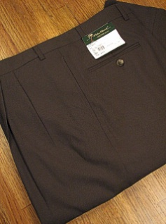 DRESS SLACKS PALM BEACH TROUSER PLEATED WORLD CLASS 2621-B4F-30Y BROWN 62 REG #233138