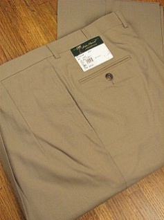 DRESS SLACKS PALM BEACH TROUSER PLEATED WORLD CLASS 2621-B4F-44 TAN 52 REG #167297