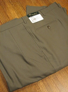 DRESS SLACKS PALM BEACH TROUSER PLEATED WORLD CLASS 2621-B4F-74 OLIVE 50 LONG #277558