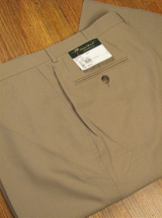 DRESS SLACKS PALM BEACH TROUSER PLAIN WORLD CLASS 2621-B4B-44 TAN 54 REG #092395