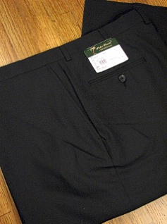 DRESS SLACKS PALM BEACH TROUSER PLAIN WORLD CLASS 2621-B4B-21 BLACK 48 LONG #310518