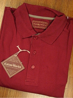 LS KNIT CREW COTTON WORKS INTERLOCK POLO 39-4110X RED 6XL TALL #019176