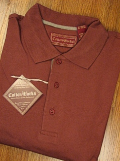 LS KNIT CREW COTTON WORKS INTERLOCK POLO 39-4110X RUSSET 5XL TALL #098735