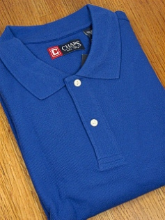 SPORTSHIRT SS KNIT CHAPS SOLID PIQUE POLO 10111-421 BLUE 2XL TALL #167792