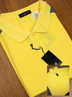 SPORTSHIRT SS KNIT CTTON TRADERS PIECED TECH 3-BUTTON 3700-102 YELLOW 4XL BIG #140568