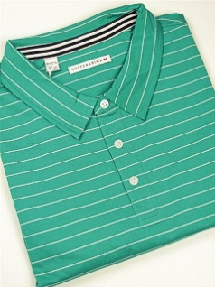 SPORTSHIRT SS KNIT CUTTER BUCK CHADWICK STRIPE POLO BCK00321 GRASS 4XL BIG #231460