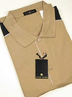SPORTSHIRT SS KNIT CTTON TRADERS TECH PIECED W/PIPING 3700-102 TAUPE 2XL BIG #340430
