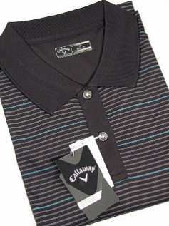 SPORTSHIRT SS KNIT CALLAWAY GOLF FANCY STRIPE POLO BESK273X-001 BLACK 3XL TALL #030476