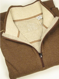 LS KNIT CREW CUTTER BUCK ESSEX HALF-ZIP BCK00391-AYC CINNAMON 2XL BIG #026954