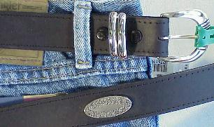 BELTS - CASUAL MARK WOLF CONCHO OIL TAN 210-BLK BLACK 52  #276157